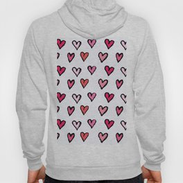 Cute Girly Pink Hand Drawn Hearts on White Pattern Hoody