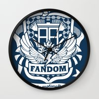 fandom Wall Clocks featuring Fandom School for the Emotionally Invested by isabloo