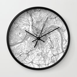 Cincinnati Map Line Wall Clock