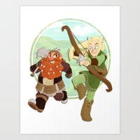 legolas Art Prints featuring LotR- Legolas & Gimli by Firehouselight