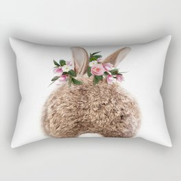 Bunny Tail, Brown Baby Rabbit, Bunny With Flower Crown, Baby Animals Art Print By Synplus Rectangular Pillow