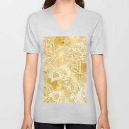 Modern lemon curry watercolor floral hand drawn pattern Unisex V-Neck