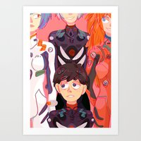 evangelion Art Prints featuring Evangelion Kids by minthues