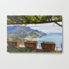 View from Under a Trellis in Ravello Metal Print