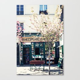 Cherry blossoms in Paris, Shakespeare & Co. Canvas Print