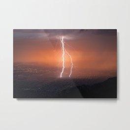 Lightning Strike in the Sandia Mountains, New Mexico Metal Print