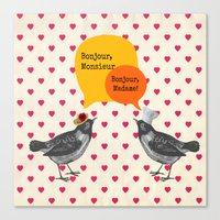 bonjour Canvas Prints featuring Bonjour! by Sreetama Ray