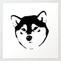 shiba inu Art Prints featuring Shiba Inu by MIX INX