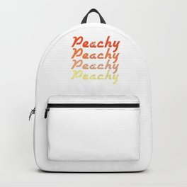 Peachy Peachy Peachy Retro Vintage Keen Peaches Fruit Smile Peachie Gift Backpack