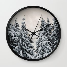 Winter Woods II - Snow Capped Forest Adventure Nature Photography Wall Clock