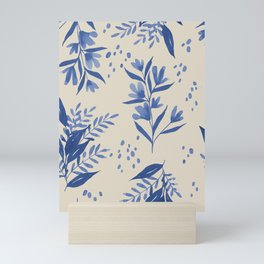 Watercolor Floral Pattern In Classic Blue And Sand Beige Mini Art Print