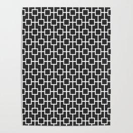 Charcoal Gray Lattice Pattern Poster