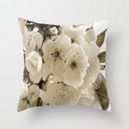 Cherry Blossoms Monochrome Throw Pillow