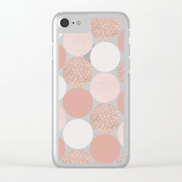Rose Gold Dots Clear iPhone Case