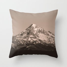 Mount Hood - Black and White - nature photography Throw Pillow