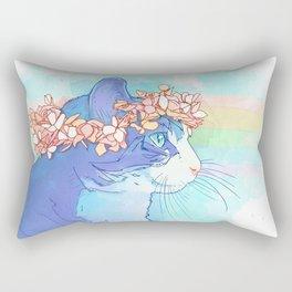 Cat with Flower Crown Rectangular Pillow