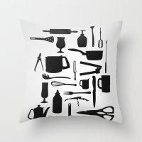 kitchen Throw Pillows featuring Kitchen by ValD