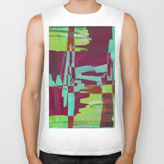 Raspberry Jam - Textured, abstract, raspberry, cyan and green painting Biker Tank