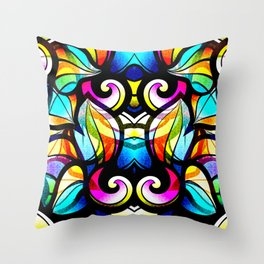 Colorful Abstract Stained Glass Design Throw Pillow