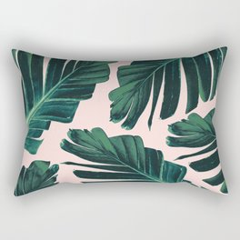 Tropical Blush Banana Leaves Dream #1 #decor #art #society6 Rectangular Pillow