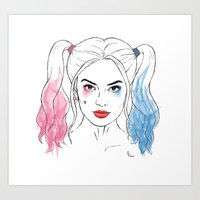 harley quinn Art Prints featuring Harley Quinn by Lazy Daisy