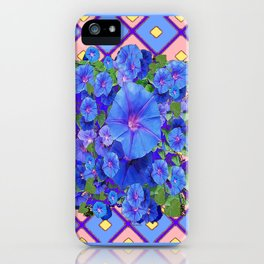 Blue Diamond Patterns Morning Glories Art iPhone Case
