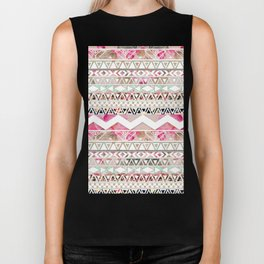 Aztec Spring Time! | Girly Pink White Floral Abstract Aztec Pattern Biker Tank
