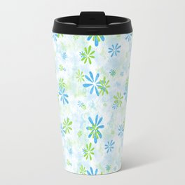 Blue and Green Floral Pattern Travel Mug
