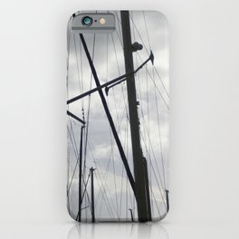Yacht masts on cloudy sky iPhone Case