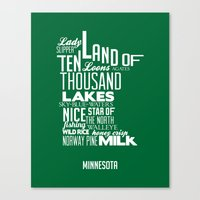 minnesota Canvas Prints featuring Minnesota by Kelly Jane