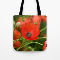 Wild Red Poppies Tote Bag