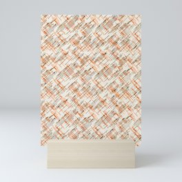 Vintage Orange & Gray Lines Pattern Mini Art Print