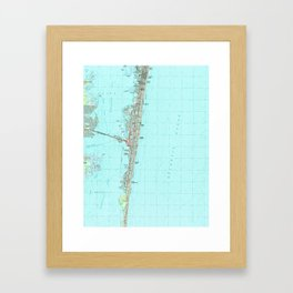 Seaside Park & NJ Shore Map (1989) Framed Art Print