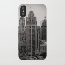 Chicago Tribune Tower Building Black and White Photo iPhone Case