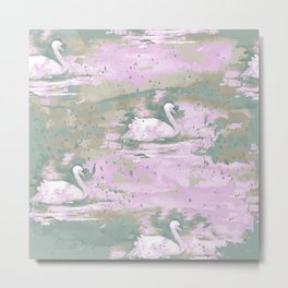 Elegant Swan Watercolor Art Metal Print