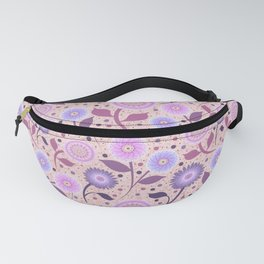 Morning Bloom, purple and pink flowers Fanny Pack