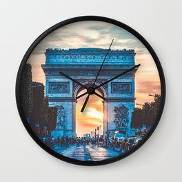 France Photography - Arc De Triomphe In The Sunrise Wall Clock