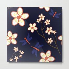 Cherry Blossom Season Dark Blue Background Metal Print