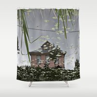 russia Shower Curtains featuring Suzdal, Russia. House Reflection by Brandon Beacon Hill