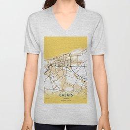 Calais Yellow City Map Unisex V-Neck