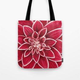 Red Dahlia close up watercolor christmas design Tote Bag