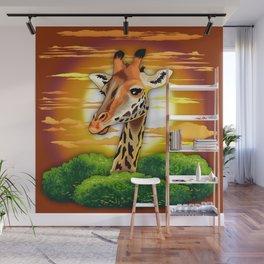 Giraffe on Wild African Savanna Sunset Wall Mural