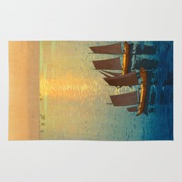 Hiroshi Yoshida Vintage Japanese Woodblock Art Ocean Sunset Sailboat Orange Blue Color Hues Rug