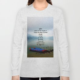 Serenity Prayer With Phewa Lake Panoramic View Long Sleeve T-shirt