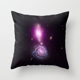 1872. A Cosmic Exclamation Point: A pair of galaxies located about 450 million light years from Earth Throw Pillow