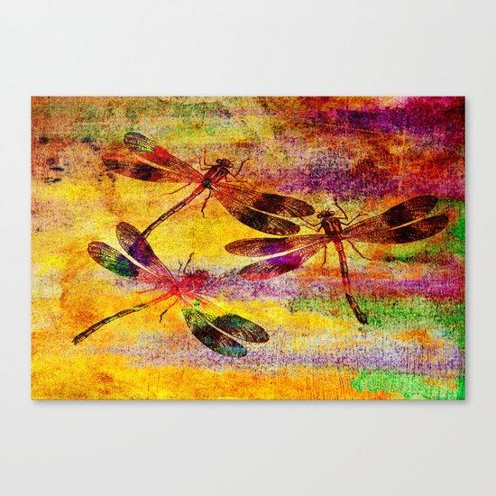 Mauritius Vintage Dragonflies Colours Canvas Print