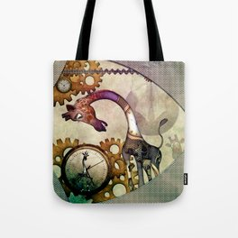 Funny giraffe, steampunk with clocks and gears Tote Bag