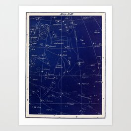 Astronomy without a telescope (1869) - Map of the Sky including Andromeda and Piscis Borealis Art Print