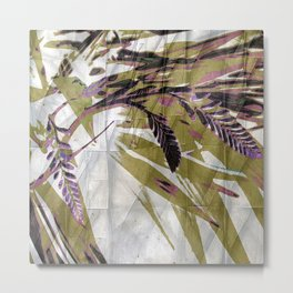 Crocosmia Shimmer in Ivory Gold Pink Metal Print