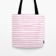 Pink Stripes Horizontal Tote Bag